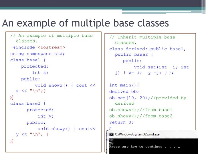 An example of multiple base classes
