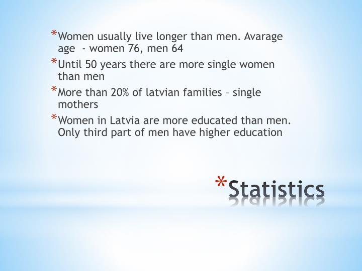 Women usually live longer than men. Avarage age  - women 76, men 64