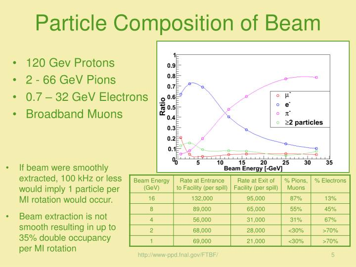 Particle Composition of Beam