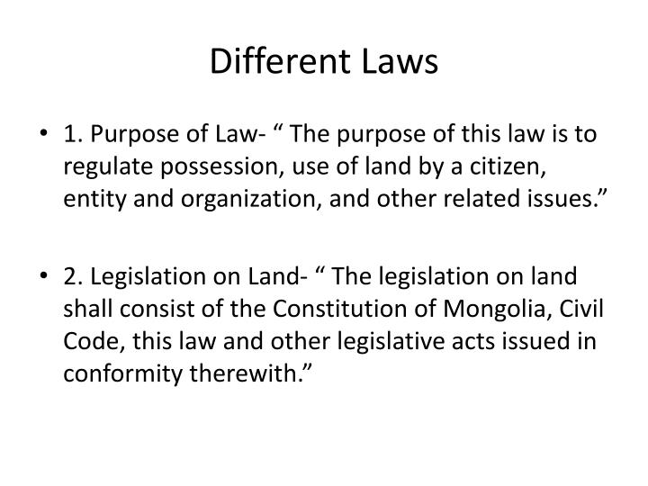 Different Laws