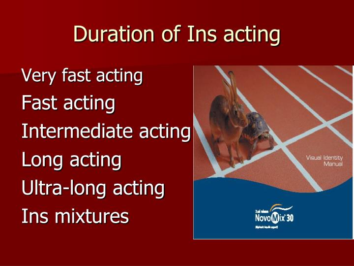 Duration of Ins acting
