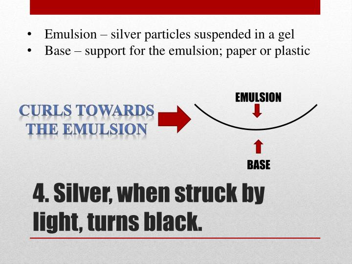 Emulsion – silver particles suspended in a gel