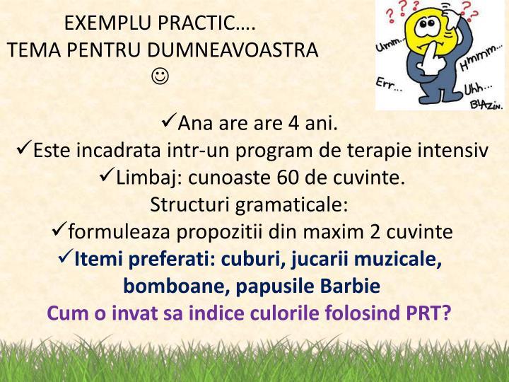 EXEMPLU PRACTIC….