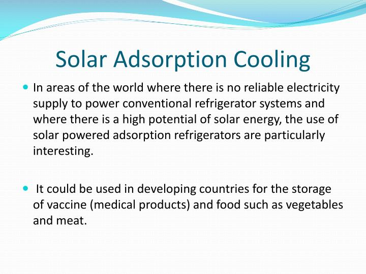 Solar Adsorption Cooling