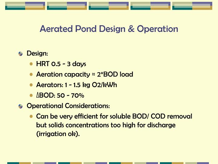 Aerated Pond Design & Operation