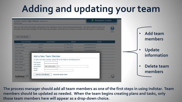 Adding and updating your team
