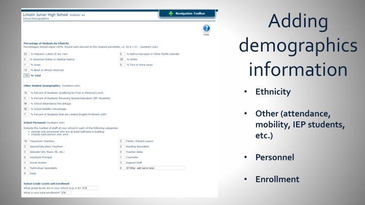 Adding demographics information