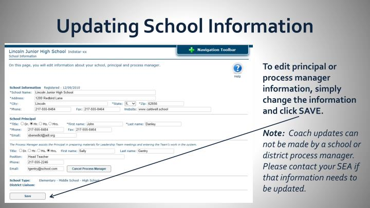 Updating School Information