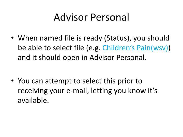 Advisor Personal