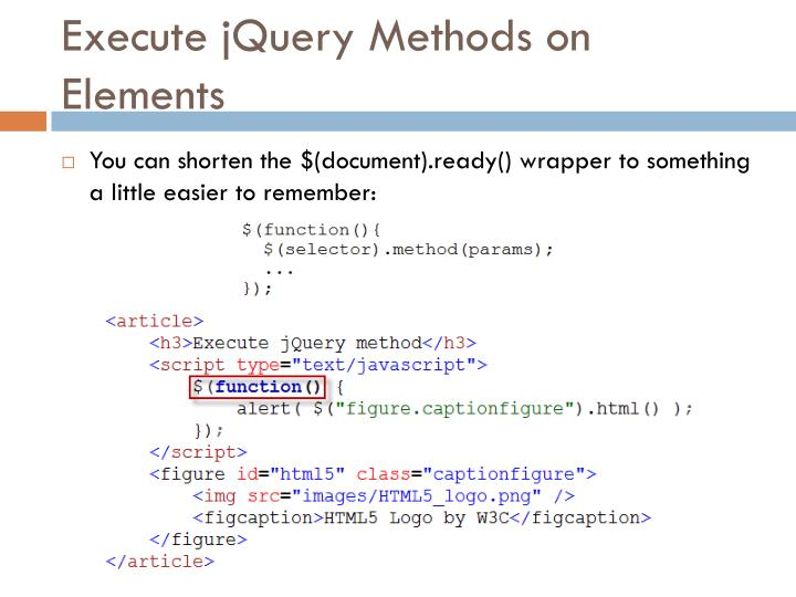Execute jQuery Methods on Elements