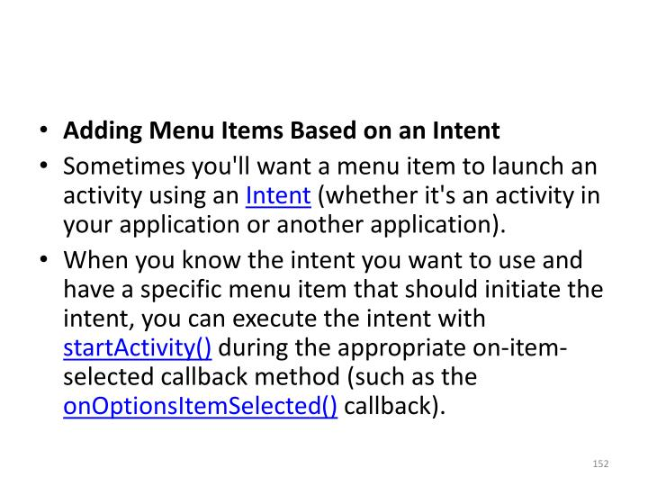 Adding Menu Items Based on an Intent