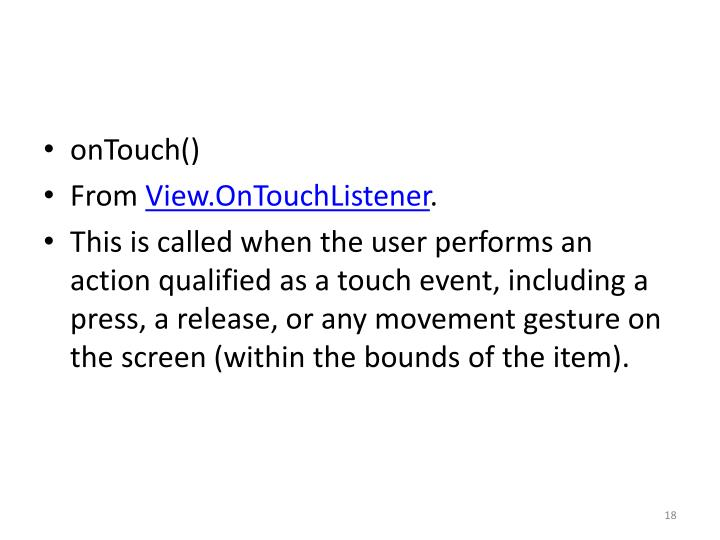 onTouch