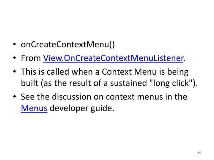 onCreateContextMenu