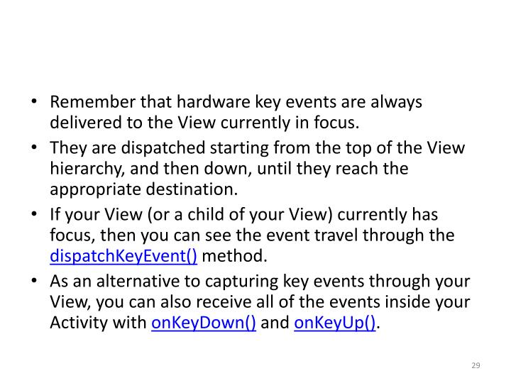 Remember that hardware key events are always delivered to the View currently in focus.