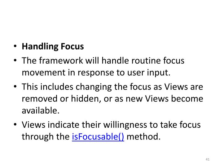 Handling Focus