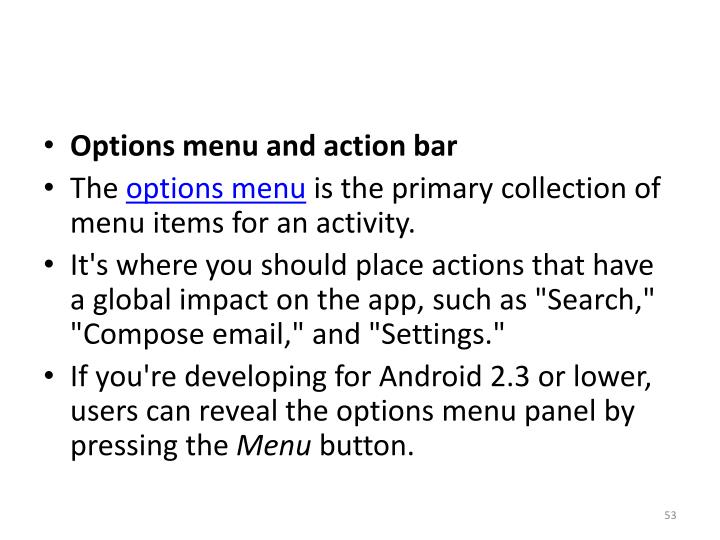 Options menu and action bar