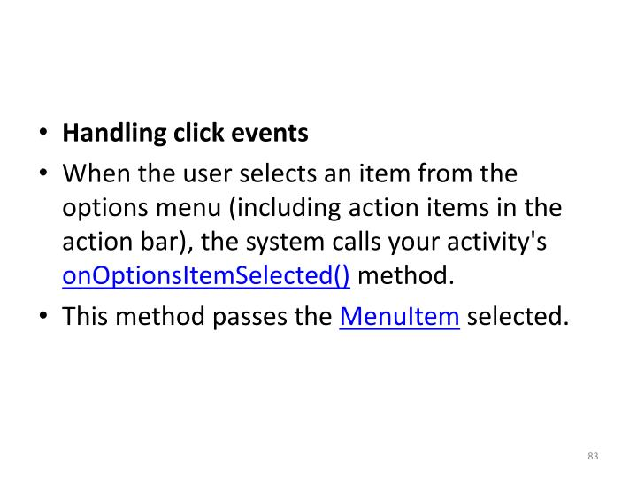 Handling click events