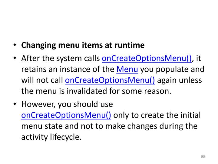 Changing menu items at runtime