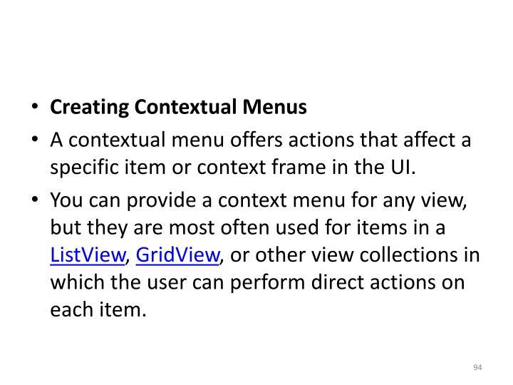 Creating Contextual Menus