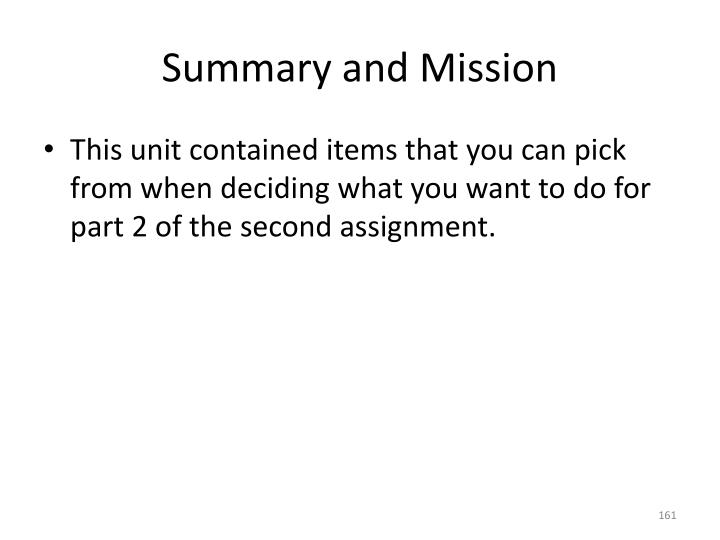 Summary and Mission
