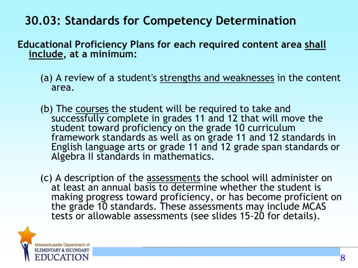 30.03: Standards for Competency Determination