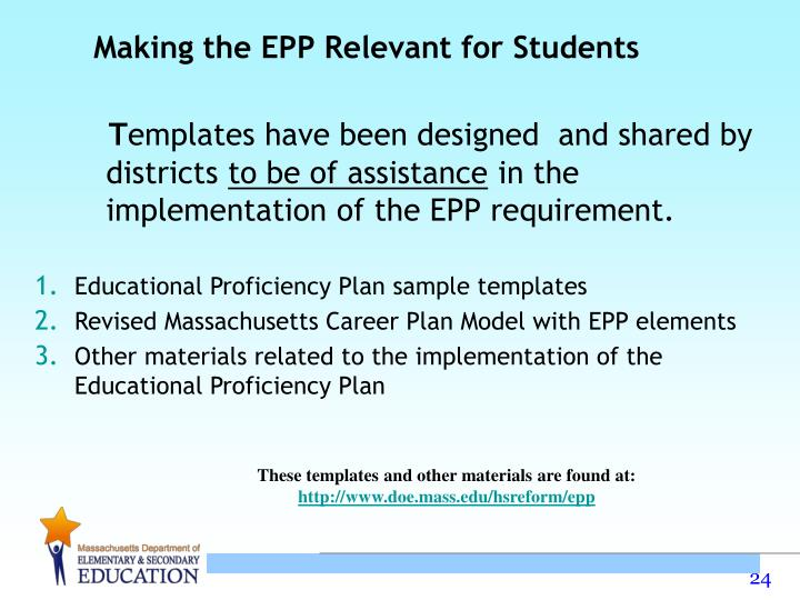 Making the EPP Relevant for Students