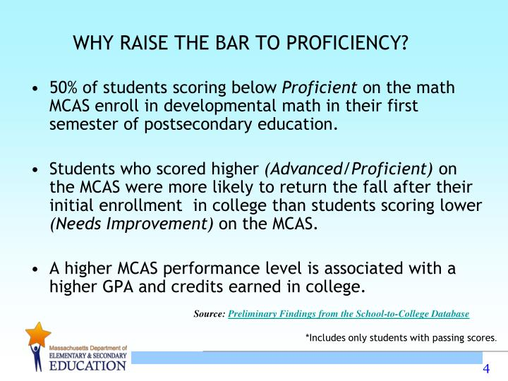 WHY RAISE THE BAR TO PROFICIENCY?