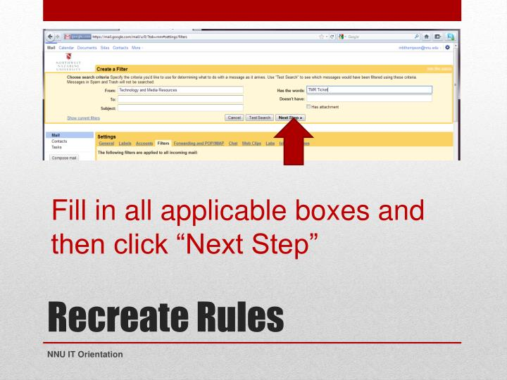 "Fill in all applicable boxes and then click ""Next Step"""