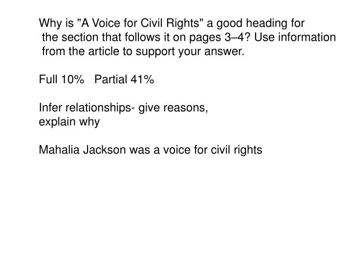 "Why is ""A Voice for Civil Rights"" a good heading for"