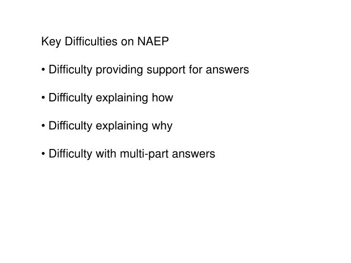 Key Difficulties on NAEP