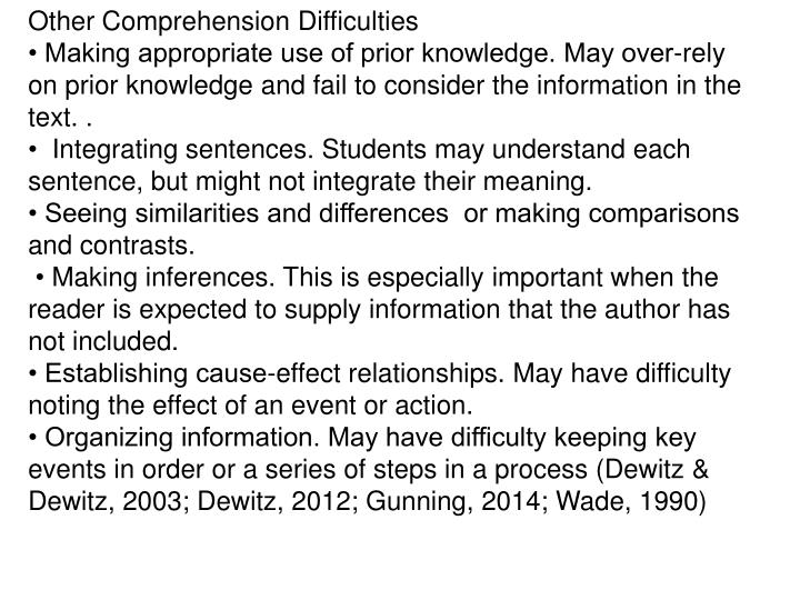 Other Comprehension Difficulties