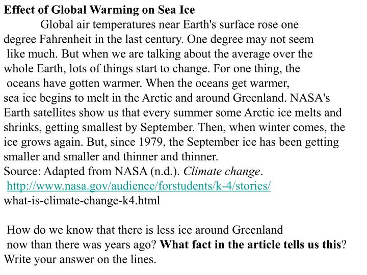 Effect of Global Warming on Sea Ice