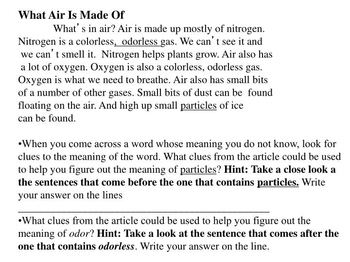What Air Is Made Of