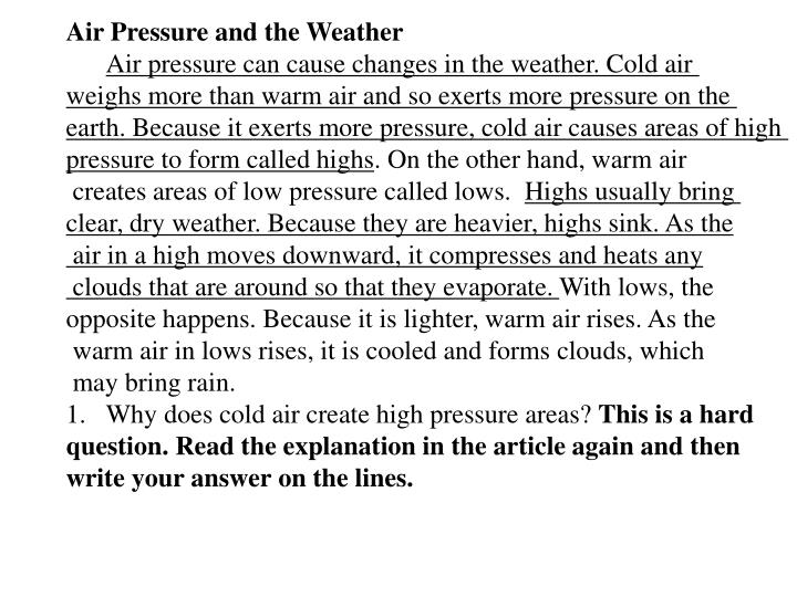 Air Pressure and the Weather