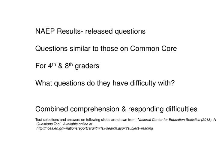 NAEP Results- released questions