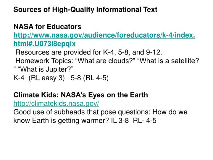 Sources of High-Quality Informational Text