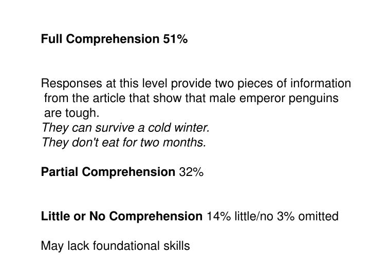 Full Comprehension 51%