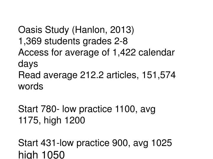 Oasis Study (Hanlon, 2013)