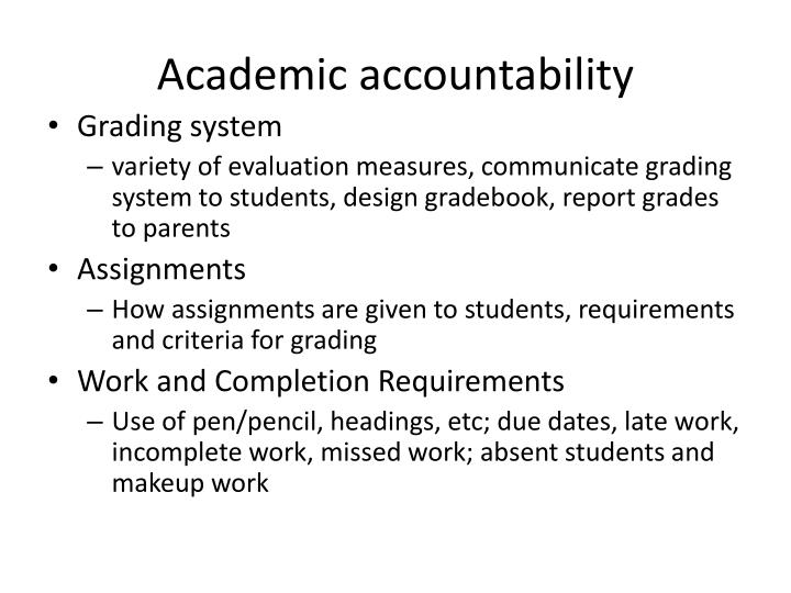Academic accountability