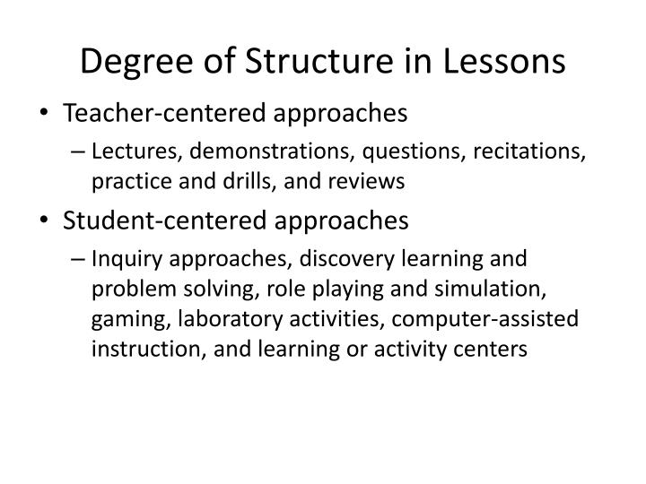 Degree of structure in lessons