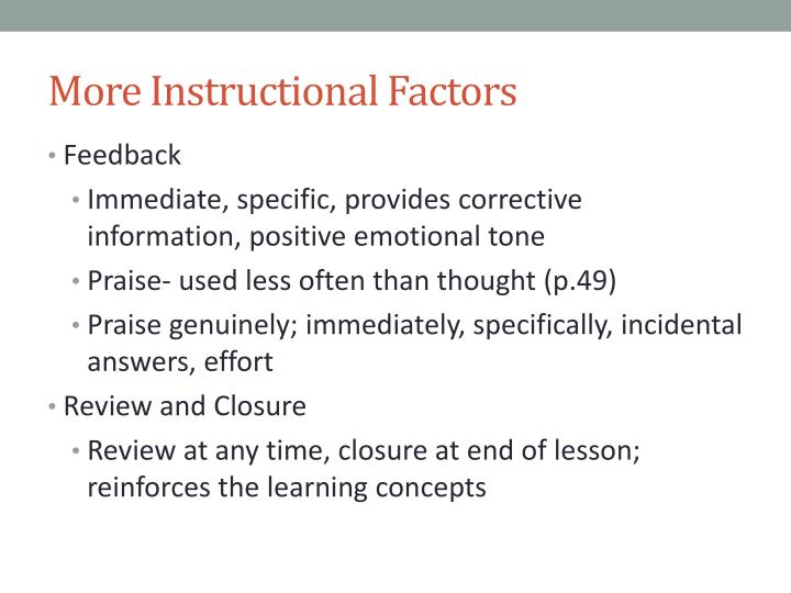 More Instructional Factors