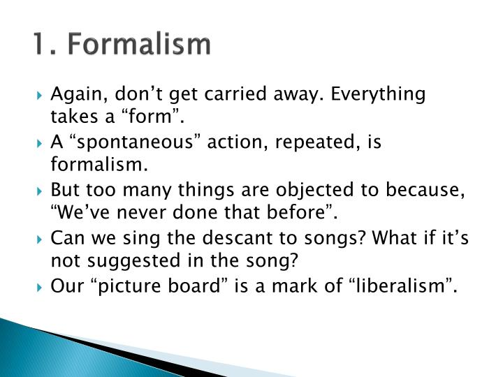 1. Formalism