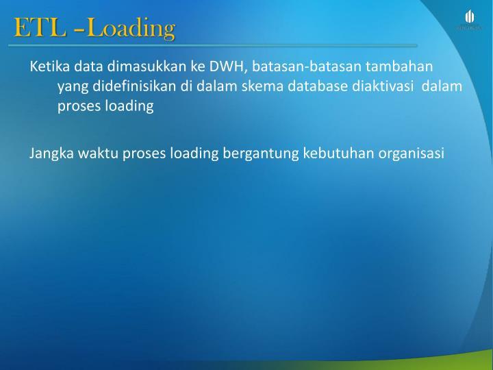 ETL –Loading