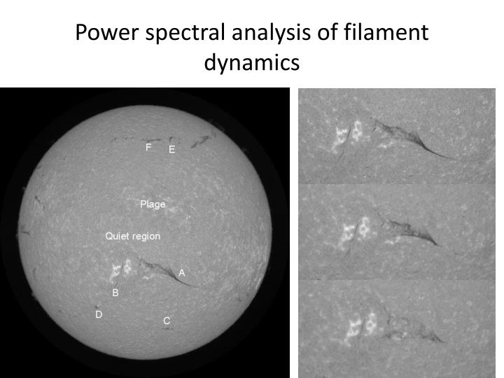 Power spectral analysis of filament dynamics