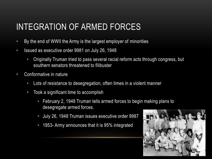 Integration of armed forces