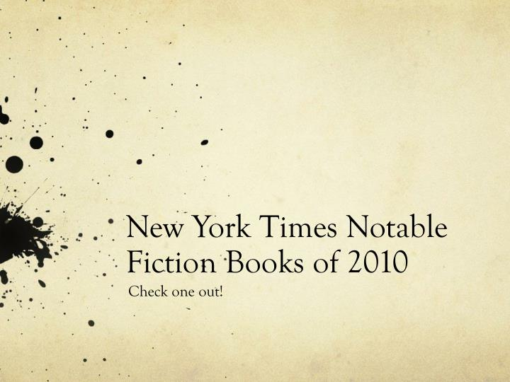 New york times notable fiction books of 2010