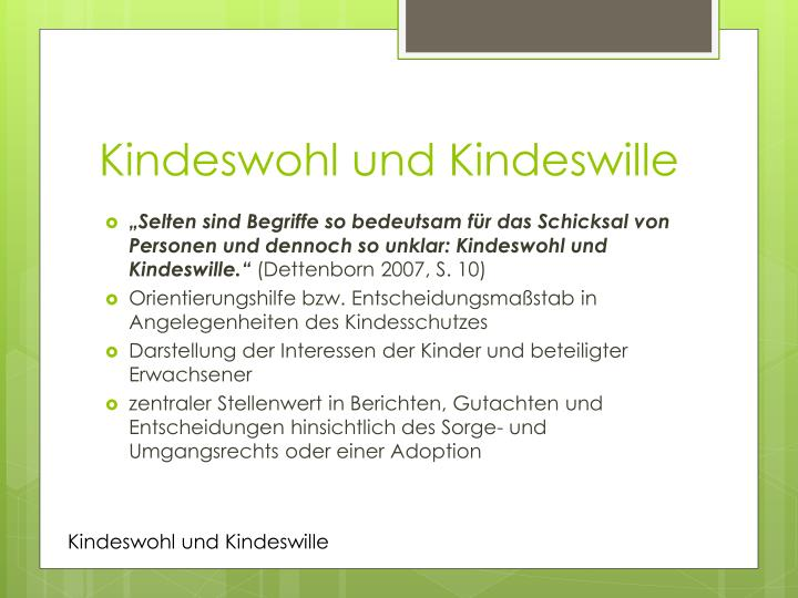 Kindeswohl und Kindeswille