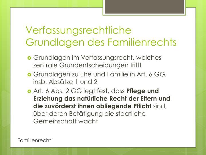 Verfassungsrechtliche Grundlagen des Familienrechts