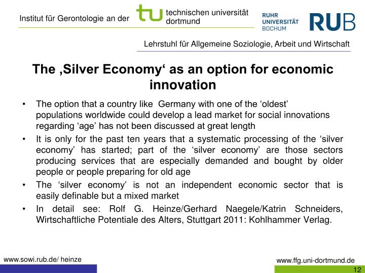 The 'Silver Economy' as an option for economic innovation
