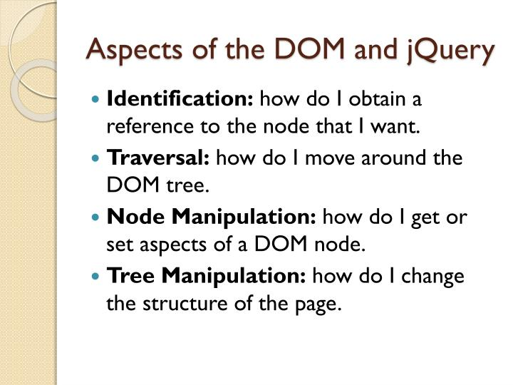 Aspects of the DOM and jQuery